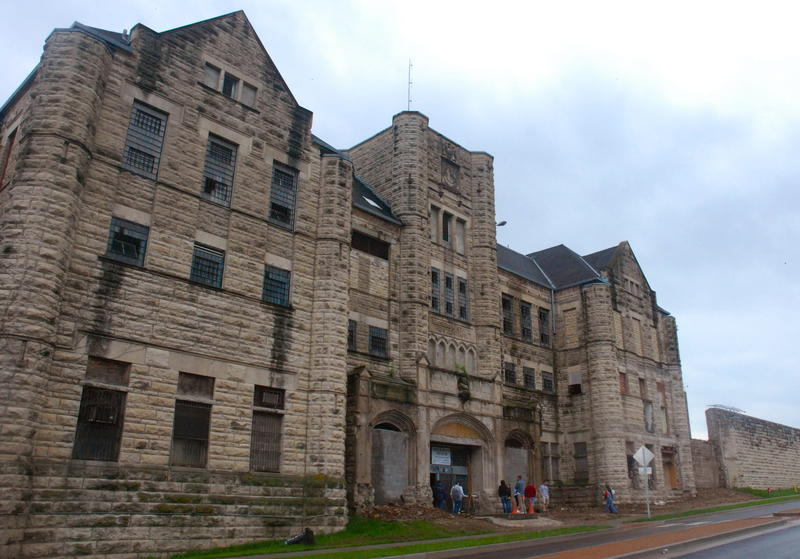 The administration building is one of the oldest on the prison site. Its decaying façade sits opposite a recently-opened federal courthouse across the street.