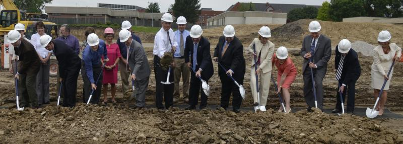 Columbia College administrators, trustees, students and staff break ground for a $14 million science building Thursday, May 3. The facility will consolidate scattered science classes and provide research space. It is slated for completion by Fall 2013.