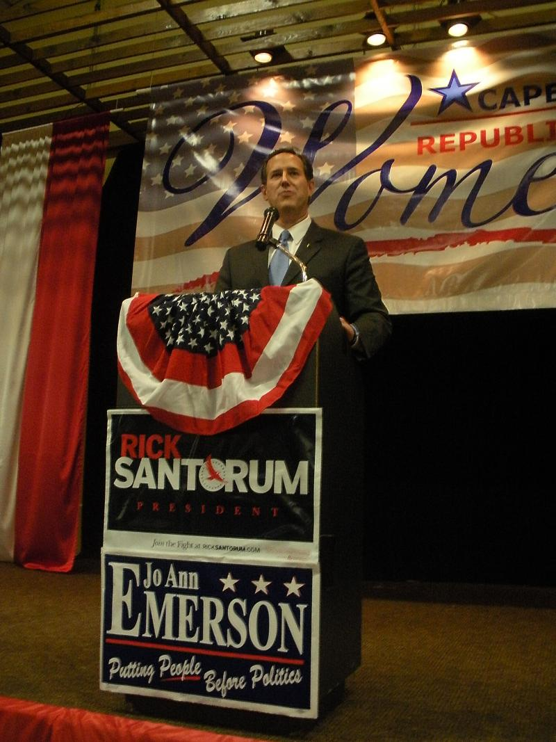 Presidential candidate Rick Santorum followed up his primary victory in Kansas with stops in Missouri, including a Saturday, March 10 visit to Cape Girardeau.