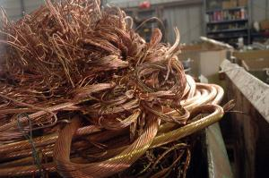 A pile of copper wire at Fusselman Salvage. Copper is the top type of scrap that Missouri exports in dollar value