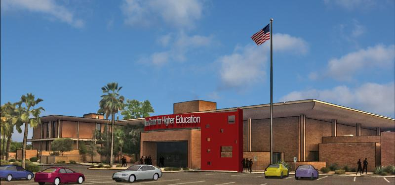 A concept rendering of the new Mesa campus building
