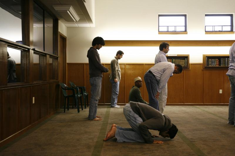 Worshippers at Islam Center