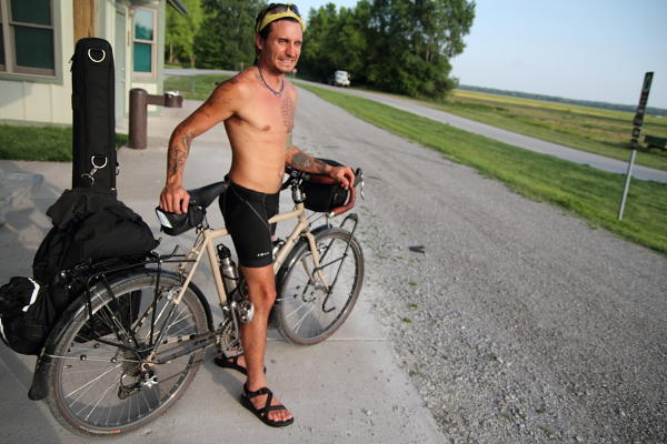 Jacob George, on the Katy Trail in Hartsburg, en route to Chicago.