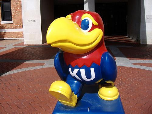 A depiction of the Jayhawk, the symbol of the University of Kansas.