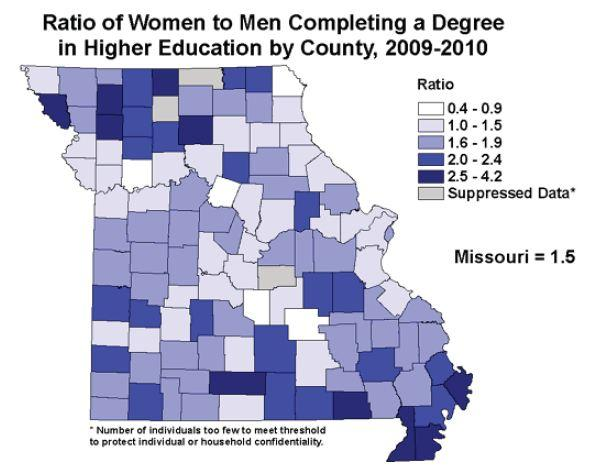 This map shows the good news: more women are getting college degrees.