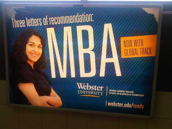Webster University Mizzou student MBA ad