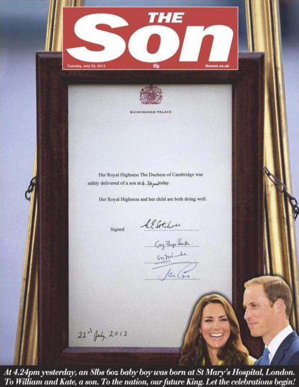 The Son cover story royal baby The Sun newspaper