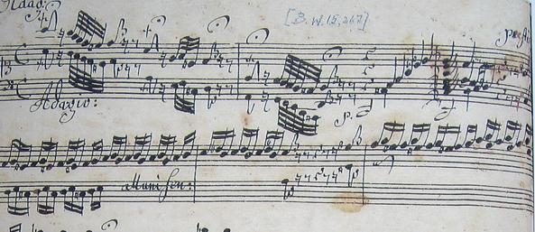 "An excerpt from Johannes Ringk's manuscript of ""Toccata and Fugue in D minor."""