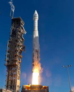 The United Launch Alliance (ULA) Atlas-V rocket with the Landsat Data Continuity Mission (LDCM) spacecraft onboard is seen as it launches on Monday, Feb. 11, 2013 at Vandenberg Air Force Base, Calif.