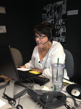 Volunteer Janie Marlborough Answers Phones During Spring Pledge Drive 2014