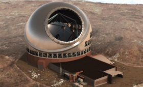 Artist rendering of the TMT on top of Hawaii's Mauna Kea volcano.