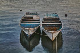 A pair of panga boats—often used for fishing, but increasingly used for drug running along the California coast.