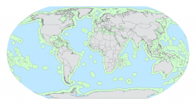 Global map of exclusive economic zones (green) and high seas (blue) oceanic areas.