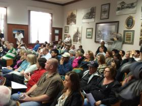 Standing-room-only crowd at Tuesday evening's city council meeting in San Luis Obispo.