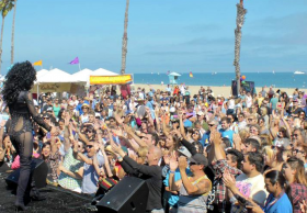 Pride celebration at Leadbetter Beach in Santa Barbara, Calif.