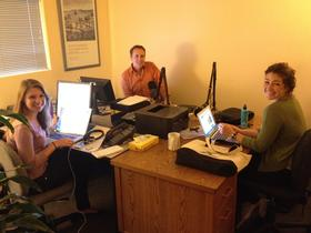 Left to right: Cal Poly Intern Christina Favuzi, News Director Randol White, Volunteer Jordan Bell.