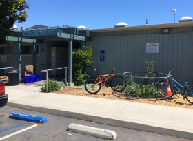 The entrance to the Prado Day Center in San Luis Obispo, situated across the street from where plans are in the works to build a new homeless services center