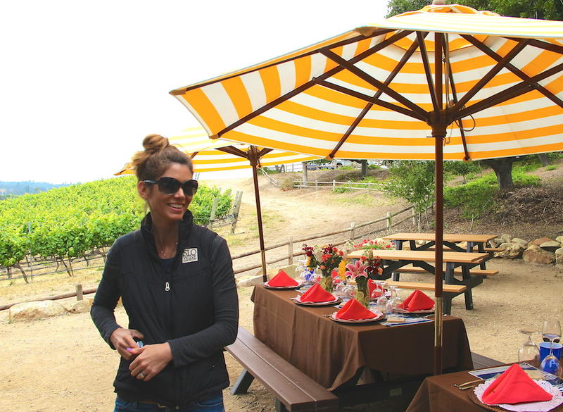 Heather Muran prepares for a breakfast in the vines at Laeticia