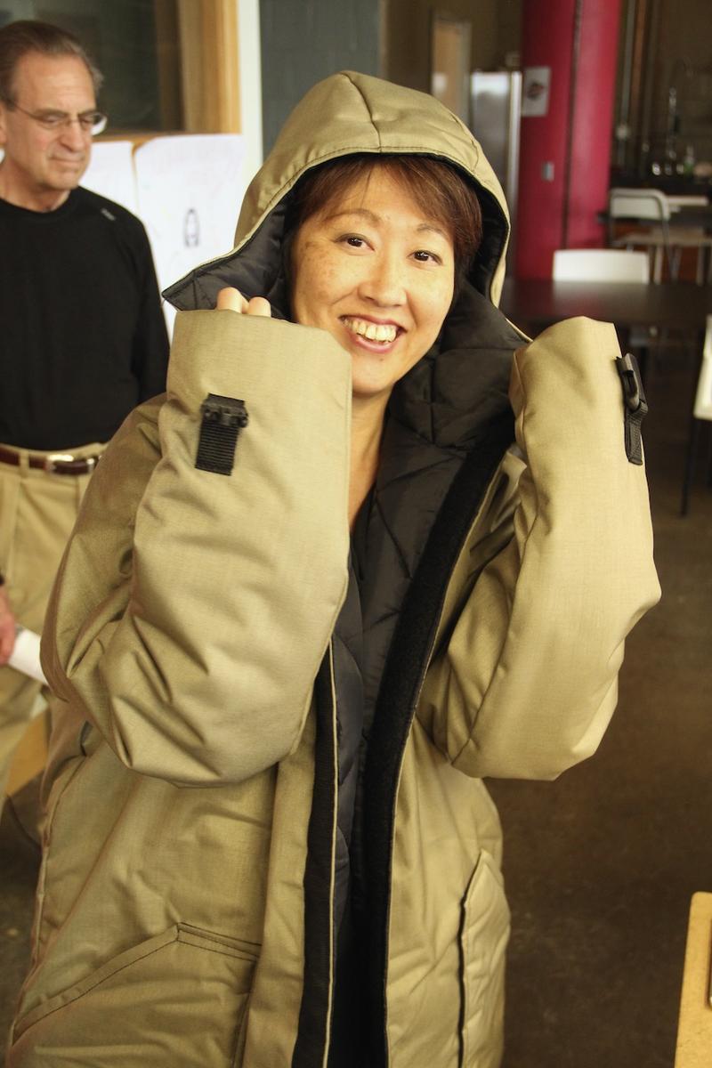 Journalist models Veronika Scott's Element Survival Coat