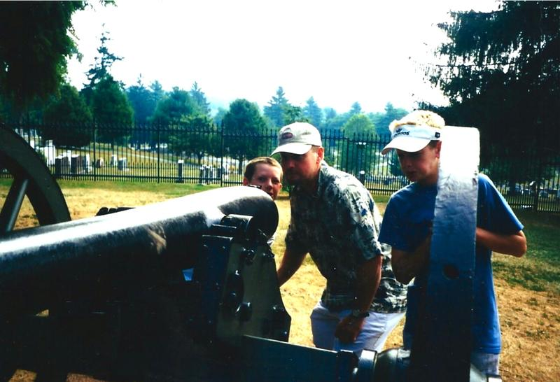 Author Jim Gregory with his sons, Thomas (L) and John at Gettysburg