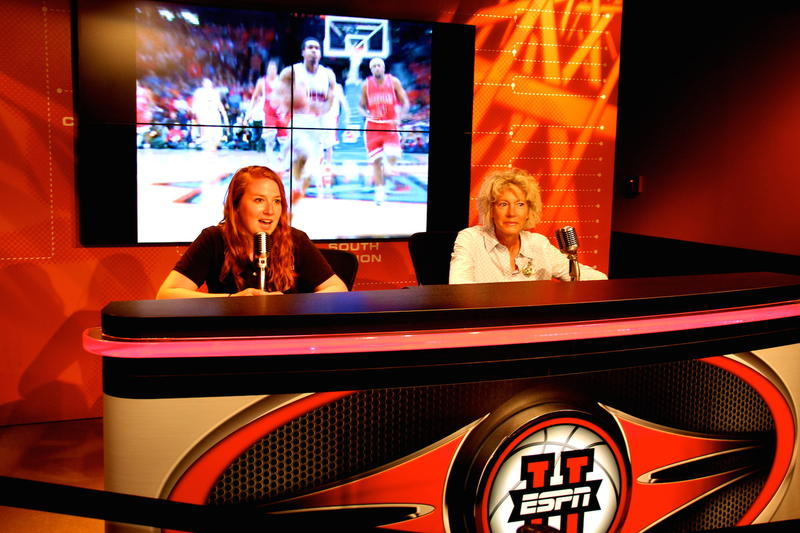 ESPN Commentator desk at College Basketball Experience
