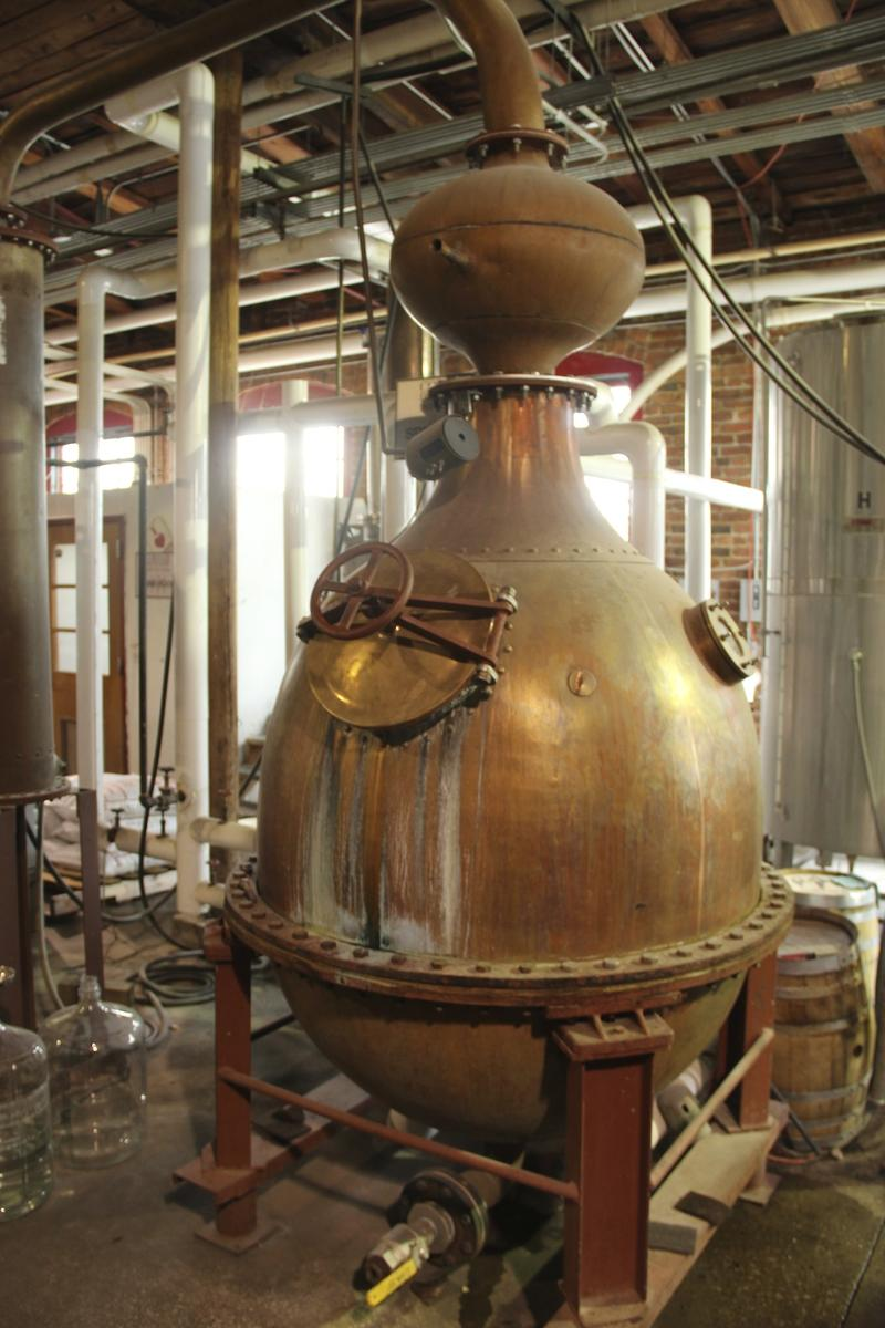 Whiskey pot still at Corsair Distillery