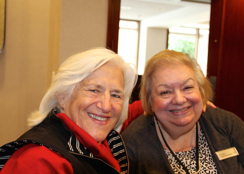 Mary Risley (L) founder of Food Runners visits with Jo Licata at the Hilton San Francisco Union Square