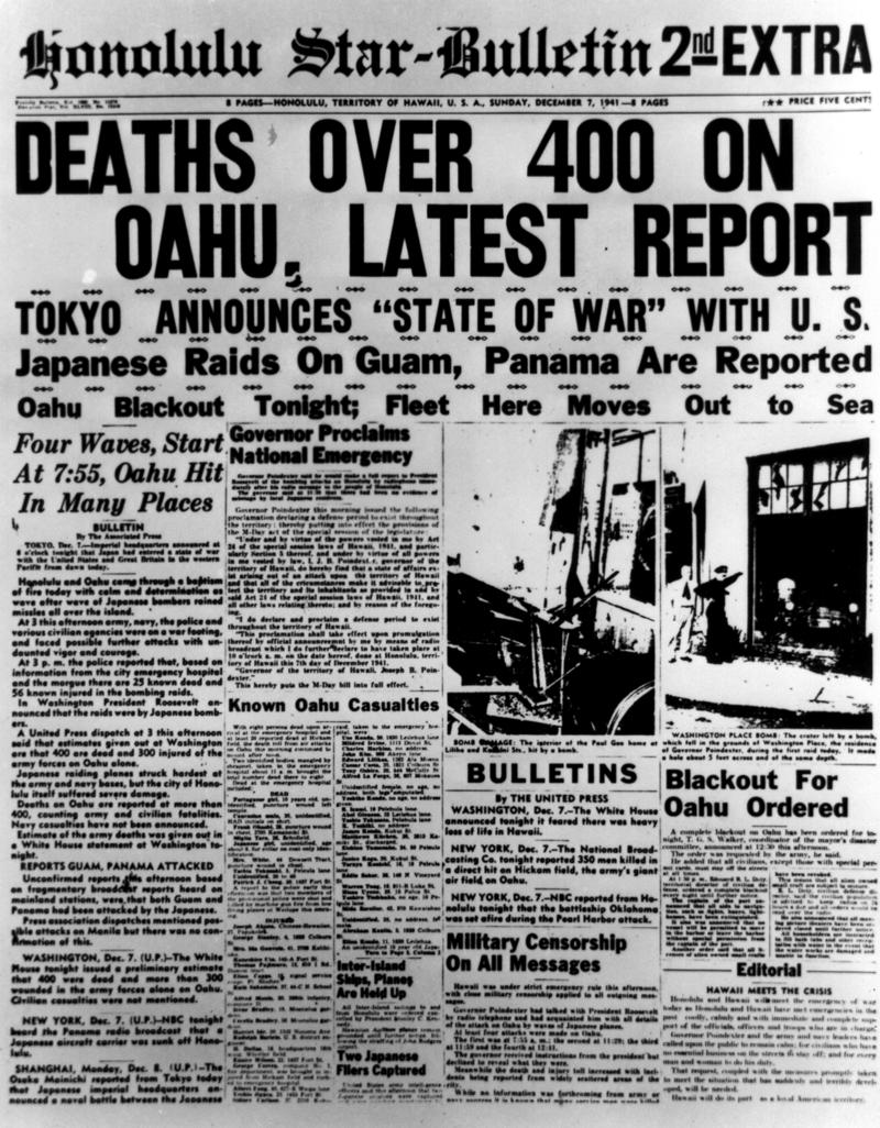 Honolulu Advertiser Pearl Harbor Attack front page