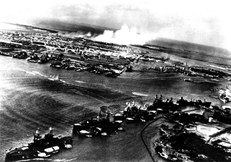 Japanese photo of first wave attack on Pearl Harbor