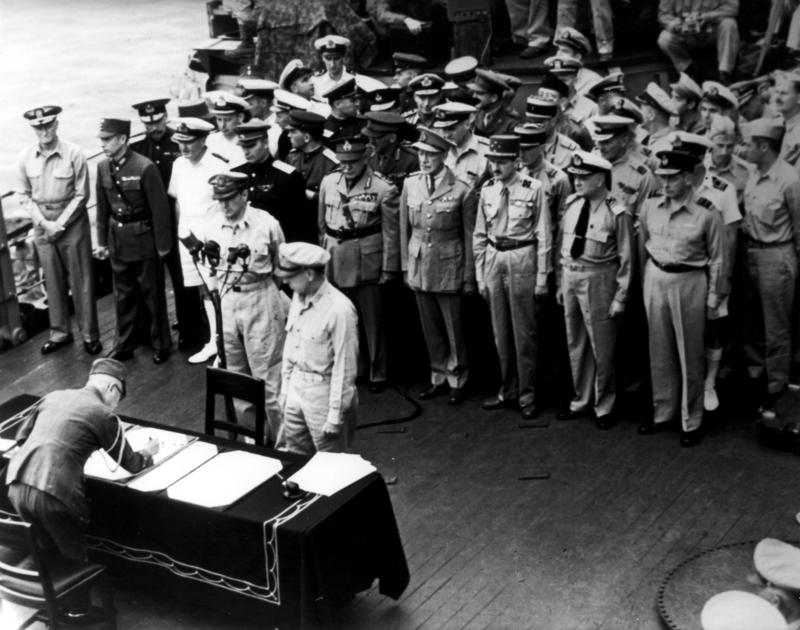 Japenese surrender ceremonies in Tokyo Bay aboard the USS Missouri