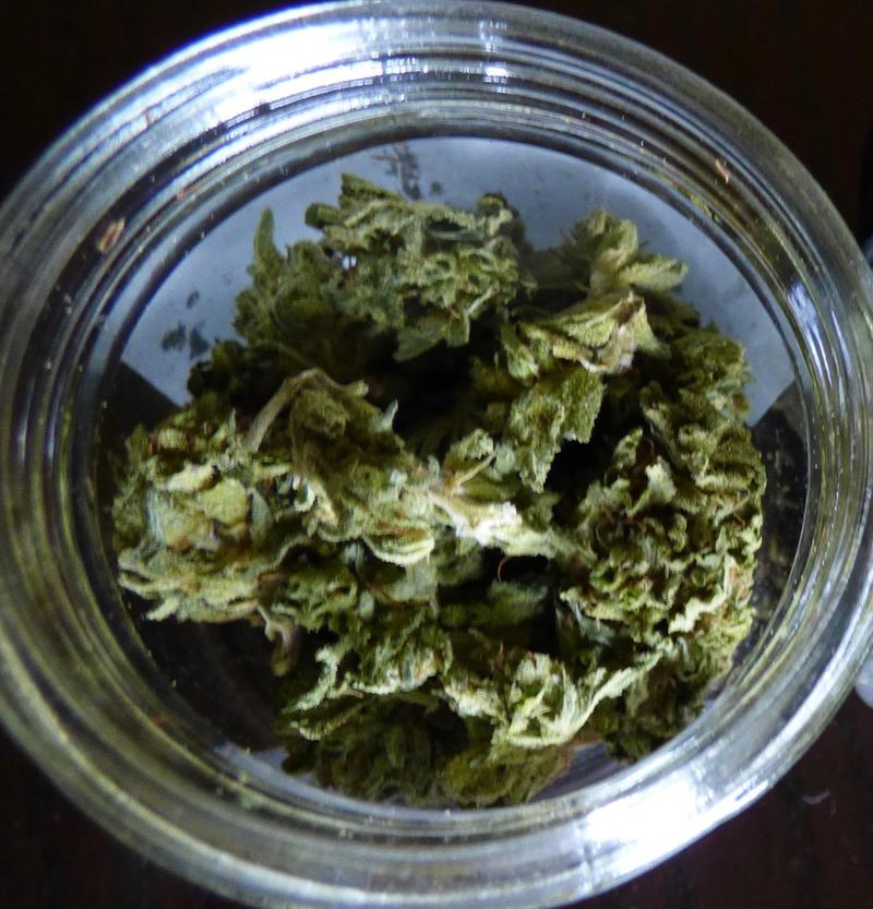 Commercially-sold Trainwreck, a sativa-dominant hybrid strain of cannabis.