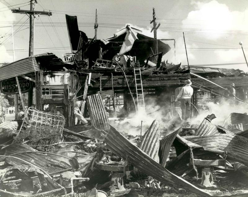 Honolulu building destroyed by aerial bombardment