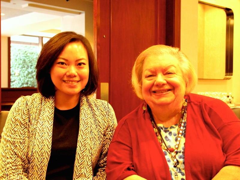 SF Hotel Council's Jessica Lum (L) with Jo Licata, Hilton SF Union Square's Community Projects Manager