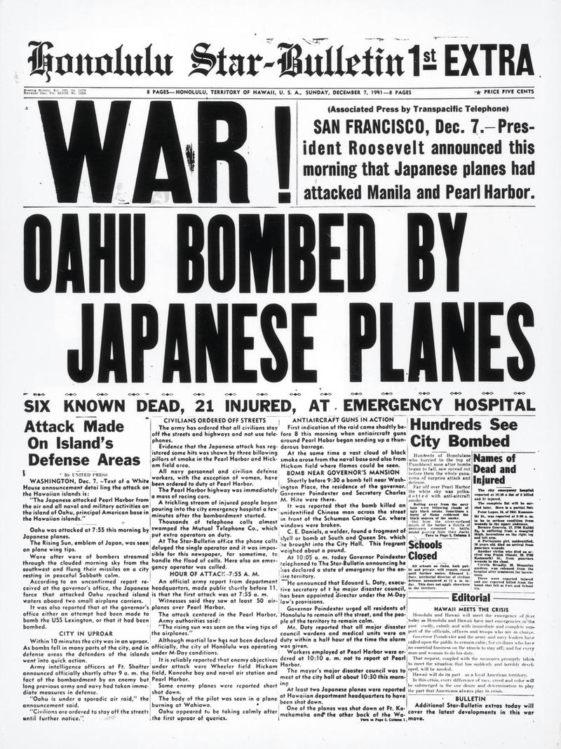 Honolulu Star-Bulletin front page December 7th 1941