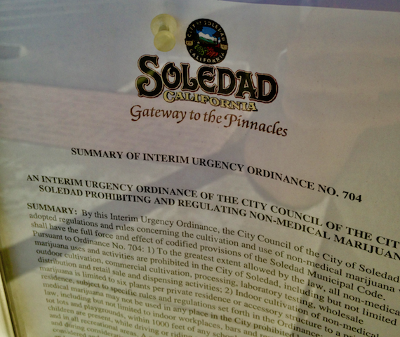 The city's temporary ban posted on Soledad City Hall's public notice board.