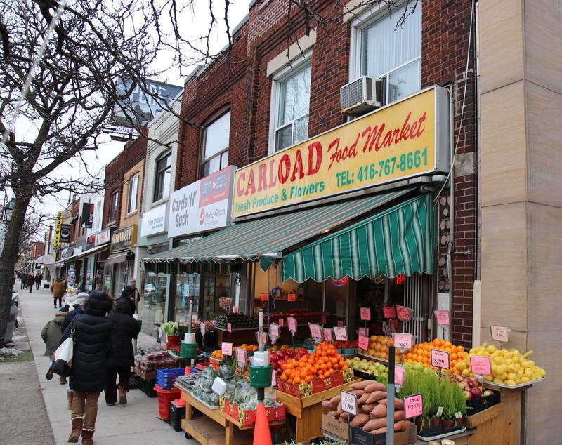 one of the fruit and flower shops on the north end of Bloor West village