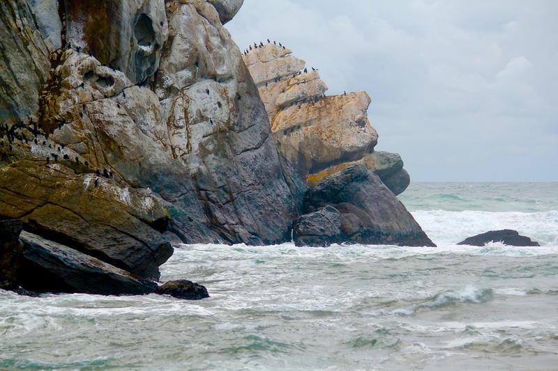 Morro Rock storm surf