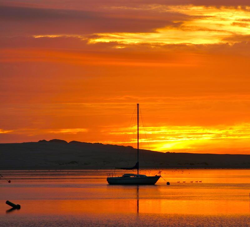 Morro Bay's back bay estuary at sunset