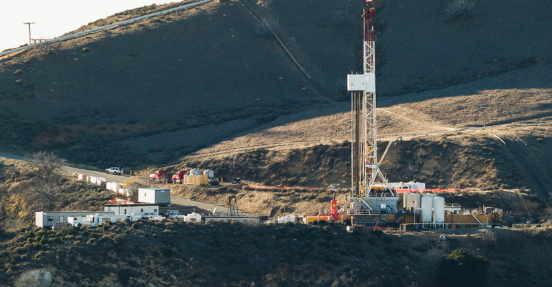A photo of the leaking Aliso Canyon well pad near Porter Ranch community in Los Angeles County.