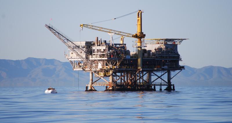 An offshore oil rig near Santa Barbara.