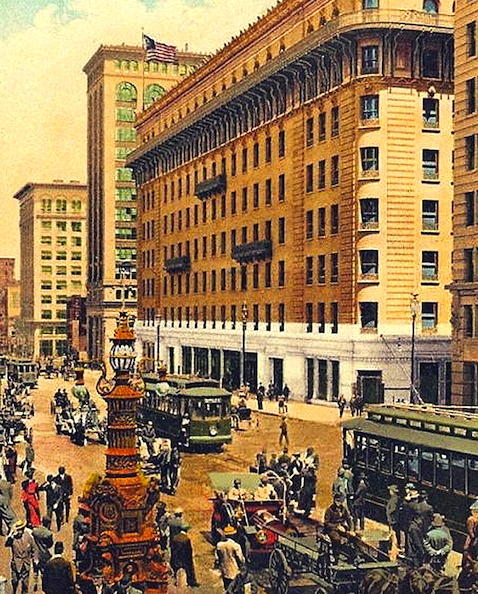 "The ""new"" Palace Hotel in downtown San Francisco (circa-1910)"