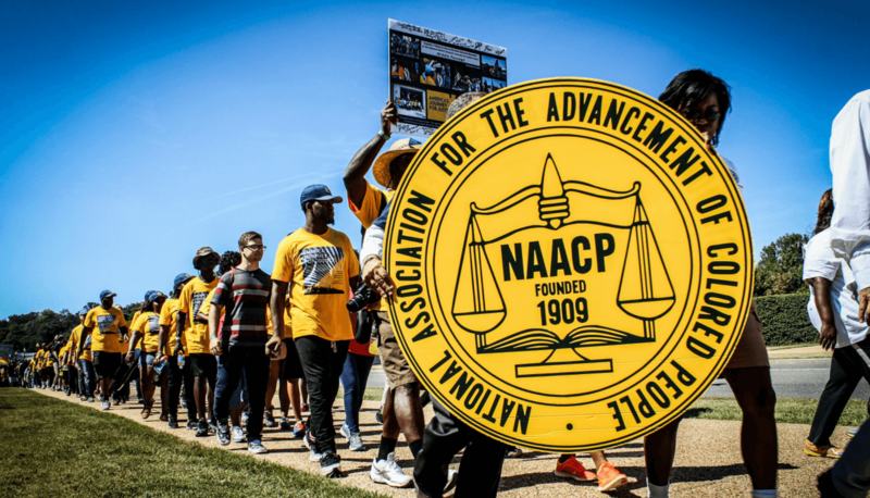 NAACP members and supporters march in 2015 in Washington DC on the 50th anniversary of the Voting Rights Act.
