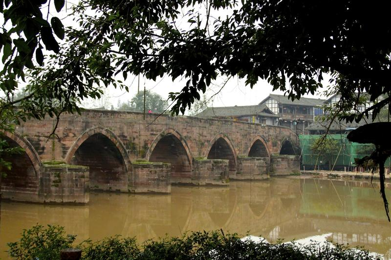 Leshan Stone Bridge in Pingle Ancient Town, Sichuan Province, China