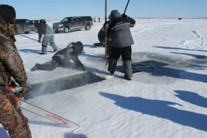 Chainsawing and cuttin-in holes in the ice for sturgeon ice fishing on Lake Winnebago