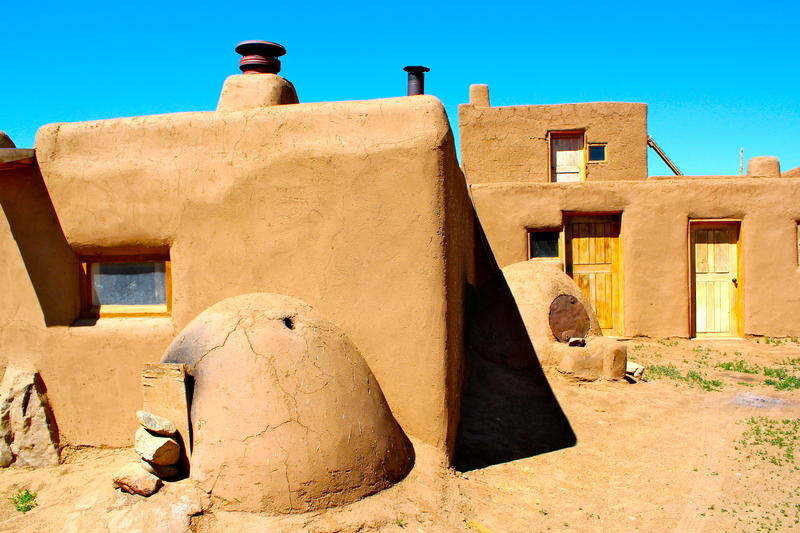 Taos Pueblo residence with orno oven out front