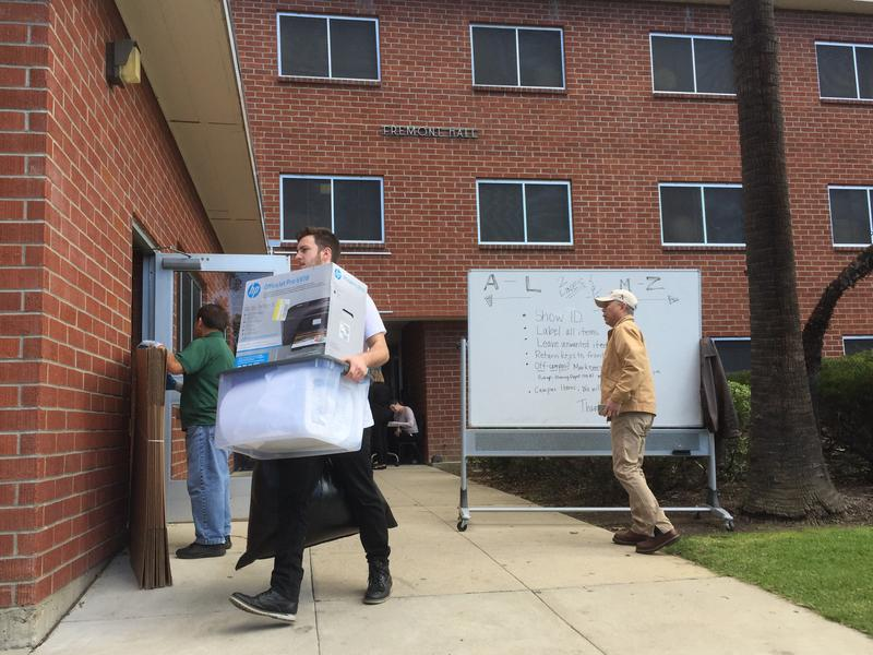 Students moving out of Fremont Hall on Thursday