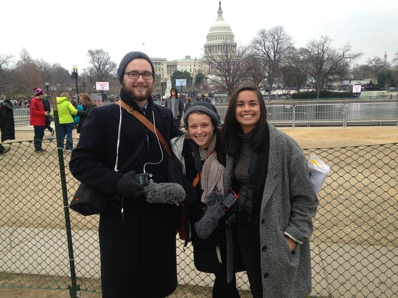 (left to right) Daniel Hornett, Michallynn Hoffman and Nesrine Majzoub went to DC to document the historic weekend.