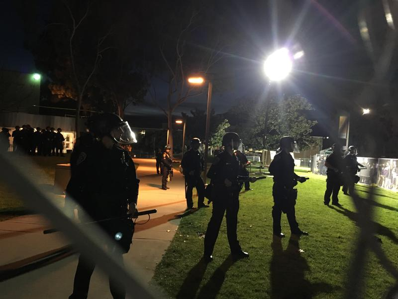 Police officers stand on guard on the Cal Poly campus on January 31, 2017.