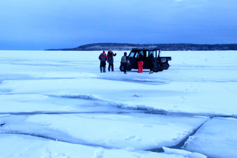 preparing to head out ice fishing on Sturgeon Bay