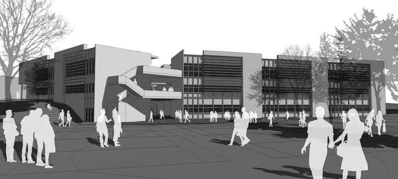 A rendering of the new building at ERHS.